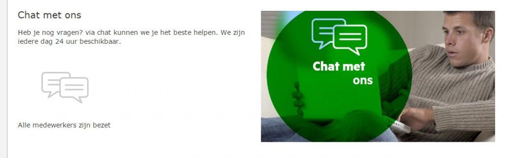 Alle medewerkers zijn bezet bij KPN chat